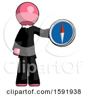 Pink Clergy Man Holding A Large Compass