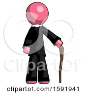 Pink Clergy Man Standing With Hiking Stick
