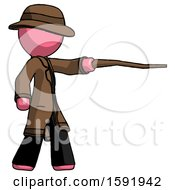 Pink Detective Man Pointing With Hiking Stick