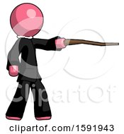 Pink Clergy Man Pointing With Hiking Stick