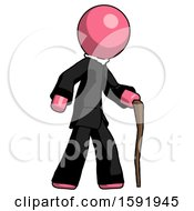 Pink Clergy Man Walking With Hiking Stick