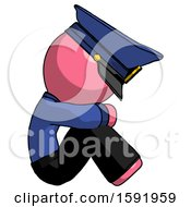 Pink Police Man Sitting With Head Down Facing Sideways Right