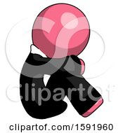 Pink Clergy Man Sitting With Head Down Facing Sideways Right