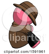 Pink Detective Man Sitting With Head Down Facing Sideways Right