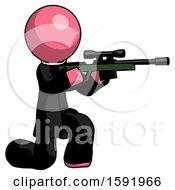 Pink Clergy Man Kneeling Shooting Sniper Rifle
