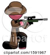 Pink Detective Man Kneeling Shooting Sniper Rifle