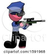 Pink Police Man Kneeling Shooting Sniper Rifle
