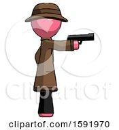 Pink Detective Man Firing A Handgun
