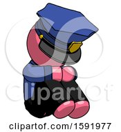 Pink Police Man Sitting With Head Down Facing Angle Right