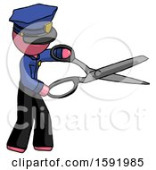 Pink Police Man Holding Giant Scissors Cutting Out Something