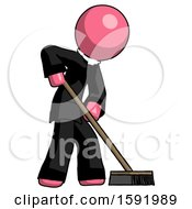 Pink Clergy Man Cleaning Services Janitor Sweeping Side View