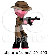 Pink Detective Man Shooting Automatic Assault Weapon
