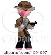 Pink Detective Man Tommy Gun Gangster Shooting Pose
