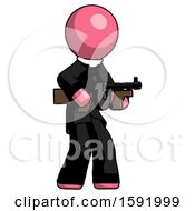Pink Clergy Man Tommy Gun Gangster Shooting Pose