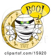 Mummy Popping Out From An Egyptian Circle With Carvings To Scare Someone Clipart Illustration