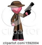 Pink Detective Man Holding Handgun