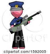 Pink Police Man Holding Sniper Rifle Gun