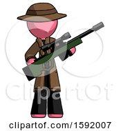 Pink Detective Man Holding Sniper Rifle Gun