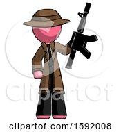 Pink Detective Man Holding Automatic Gun
