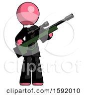 Pink Clergy Man Holding Sniper Rifle Gun