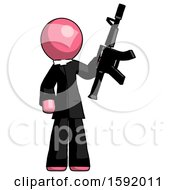 Pink Clergy Man Holding Automatic Gun