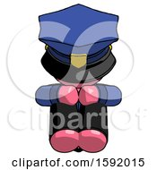 Pink Police Man Sitting With Head Down Facing Forward
