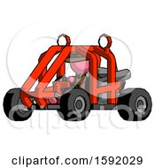 Pink Detective Man Riding Sports Buggy Side Angle View