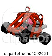 Pink Clergy Man Riding Sports Buggy Side Top Angle View