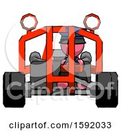 Pink Police Man Riding Sports Buggy Front View