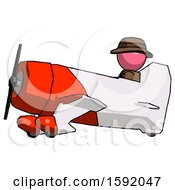 Pink Detective Man In Geebee Stunt Aircraft Side View