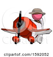 Pink Detective Man Flying In Geebee Stunt Plane Viewed From Below