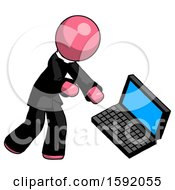 Pink Clergy Man Throwing Laptop Computer In Frustration