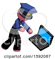 Pink Police Man Throwing Laptop Computer In Frustration