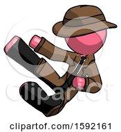 Pink Detective Man Flying Ninja Kick Left