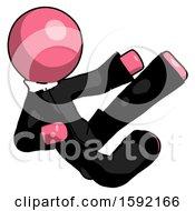 Pink Clergy Man Flying Ninja Kick Right
