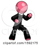 Pink Clergy Man Martial Arts Defense Pose Right