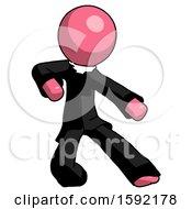 Pink Clergy Man Karate Defense Pose Right