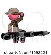 Pink Detective Man Riding A Pen Like A Giant Rocket