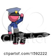 Pink Police Man Riding A Pen Like A Giant Rocket