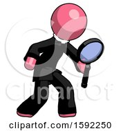 Pink Clergy Man Inspecting With Large Magnifying Glass Right
