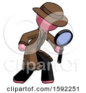 Pink Detective Man Inspecting With Large Magnifying Glass Right