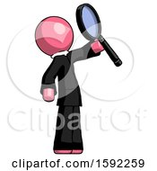 Pink Clergy Man Inspecting With Large Magnifying Glass Facing Up