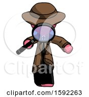 Pink Detective Man Looking Down Through Magnifying Glass