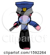 Pink Police Man Looking Down Through Magnifying Glass