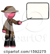 Pink Detective Man Giving Presentation In Front Of Dry Erase Board