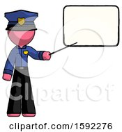 Pink Police Man Giving Presentation In Front Of Dry Erase Board