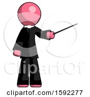 Pink Clergy Man Teacher Or Conductor With Stick Or Baton Directing