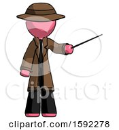 Pink Detective Man Teacher Or Conductor With Stick Or Baton Directing