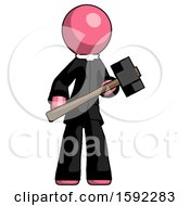 Pink Clergy Man With Sledgehammer Standing Ready To Work Or Defend