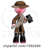 Pink Detective Man With Sledgehammer Standing Ready To Work Or Defend
